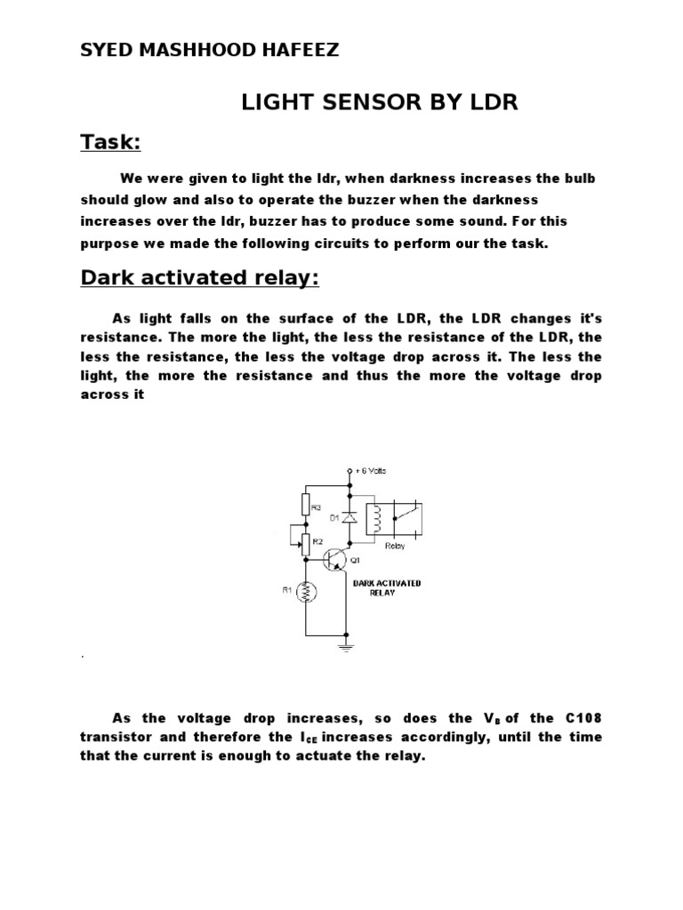 Ldr Sensor Semiconductor Devices Electrical Engineering Darkactivated Buzzer Circuit Schematic