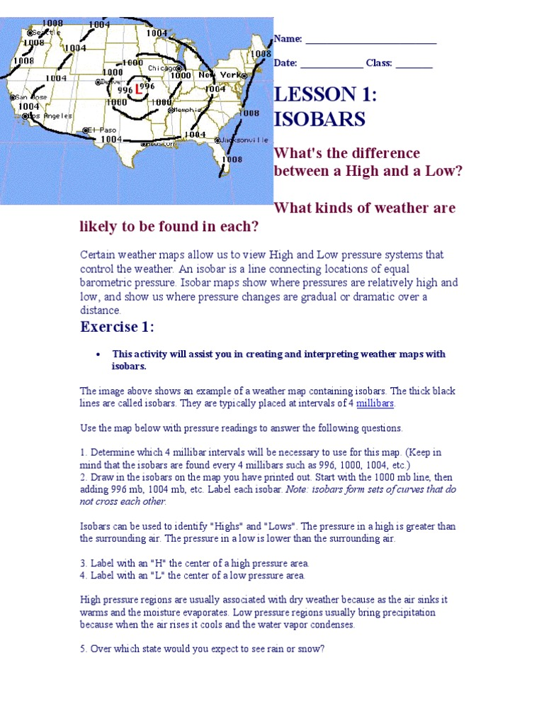 Isobar Intro Contour Line Wound - Us weather map barometric pressure