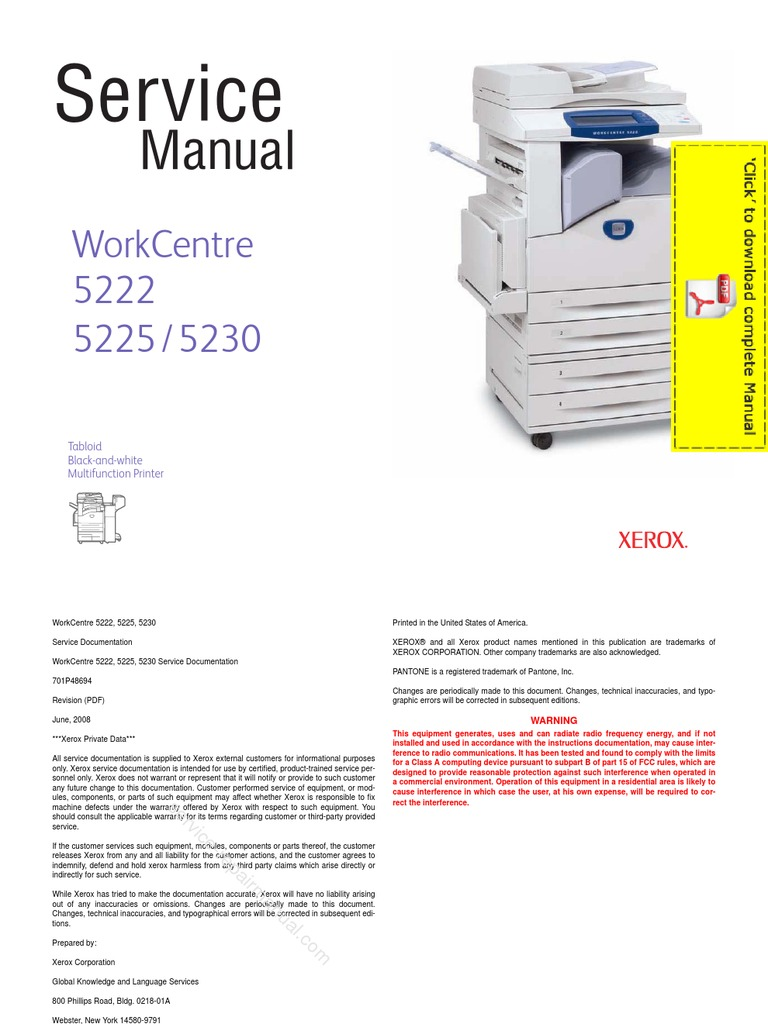 xerox work centre 5222 5225 5230 service manual pages image rh es scribd com xerox wc 5225 service manual xerox workcentre 5230 manuel