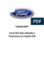 Ford CEO Alan Mulally Oral Testimony