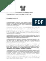 RECOMENDAÇÃO A SESED PARA PROVIDENCIAR MEDIDAS EMERGENCIAIS  DE MELHORIAS NO NUCLEO CUSTODIA  DA CIDADE ESPERANÇA