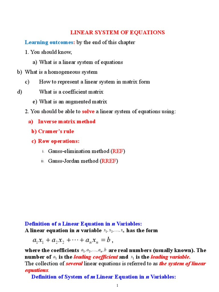 ch.1_ linear system of equations | system of linear equations
