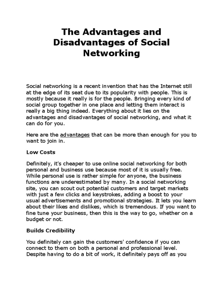 social networking disadvantages essay This essay outlines a background of social media, the advantages and  disadvantages of using social media in the healthcare system and.