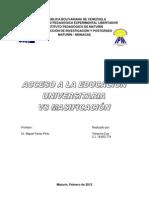 ACCESO A LA EDUCACIÓN UNIVERSITARIA VS MASIFICACIÓN