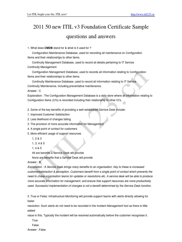 20110327 50 New Itil V3 Foundation Exam Questions Itil It