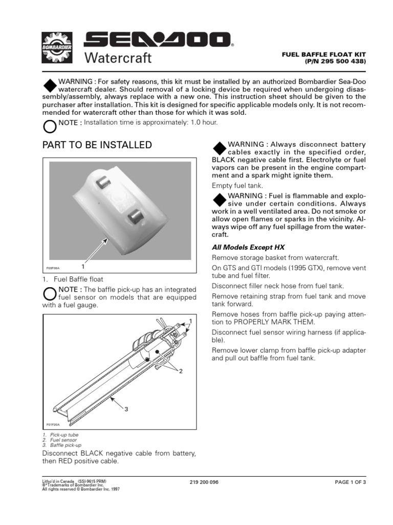 1996 Sea-Doo Fuel Baffle Float Kit | Battery (Electricity
