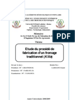 """Etude de procédé de fabrication d'un produit laitier traditionnel algérien """"KLILA"""""""