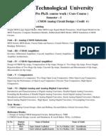 GTU PhD Core Syllabus CMOS Analog Circuit Design