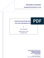 Interest Rate Pass-through Estimates From Vector Auto Regressive Models