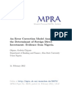 An Error Correction Model Analysis of the Determinant of Foreign Direct Investment Evidence From Nigeria