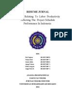Resume Faktor Yang Berhubungan Dengan Produktivitas Tenaga Kerja Yang Mempengaruhi Jadwal Proyek Kinerja Di Indonesia