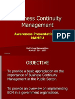 Business Continuity Management Awareness Presentation for Mampu2929