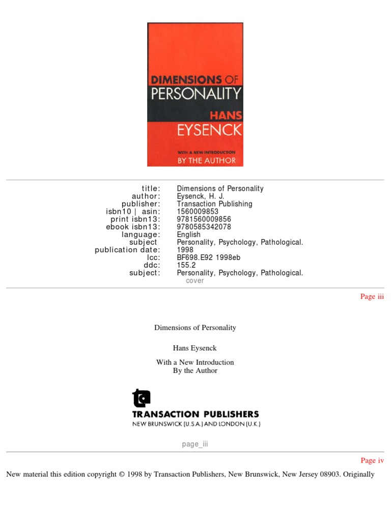 Eysenck 1998 dimensions of personality experiment personality type fandeluxe Gallery