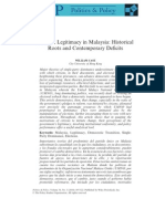 Political Legitimacy in Malaysia- Historical Roots and Contemporary Deficits