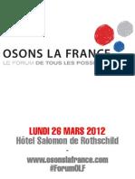 Programme détaillé du forum Osons la France