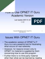 How to Use OPNET IT Guru Academic Version