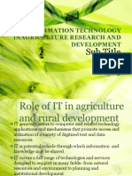 Information Technology in Agriculture r &d