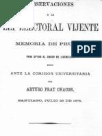 Observaciones a La Lei Electoral Vigente. Memoria de Prueba. 1876