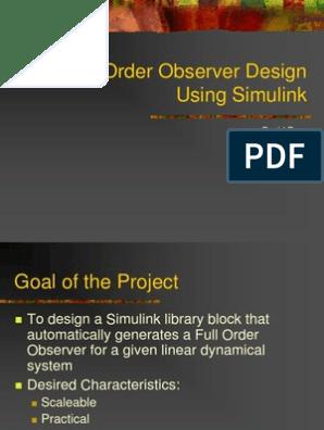 Full Order Observer Design Using Simulink | Dynamical System