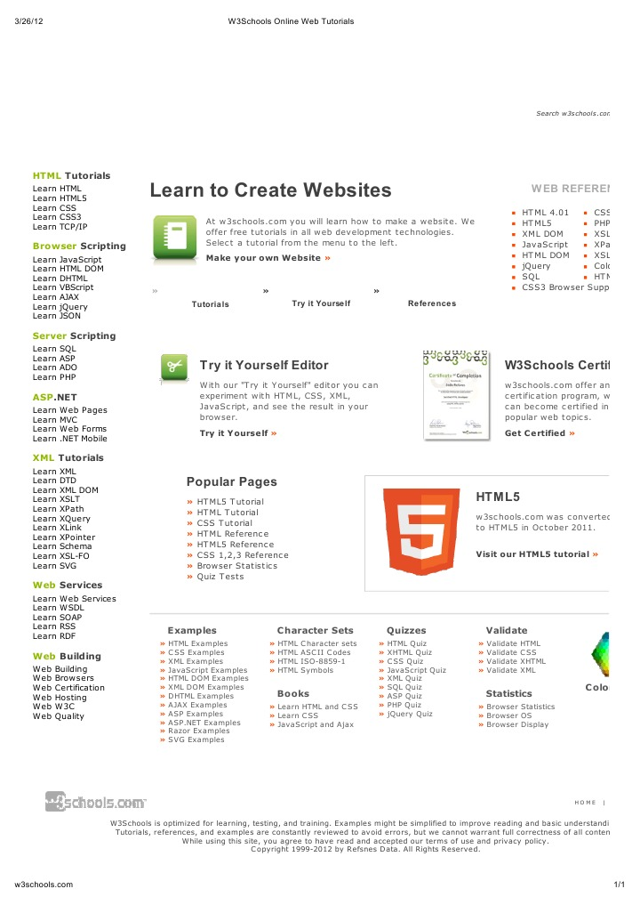 W3Schools Online Web Tutorials | Html | Xml