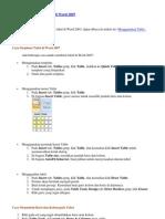 Cara Menggunakan Table Di Word 2007