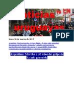 Oticias Uruguayas Lunes 26 de Marzo de 2012