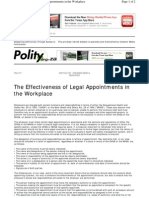 Www.polity.org.Za Print Version the Effectiveness of Legal Appointments in the Workplace 2010-03-01