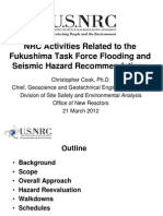 Cook - NRC Activities Related to the Fukushima Task Force Flooding and Seismic Hazard Recommendations