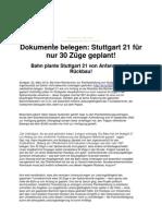 Bahn plante Stuttgart 21 als Rückbau