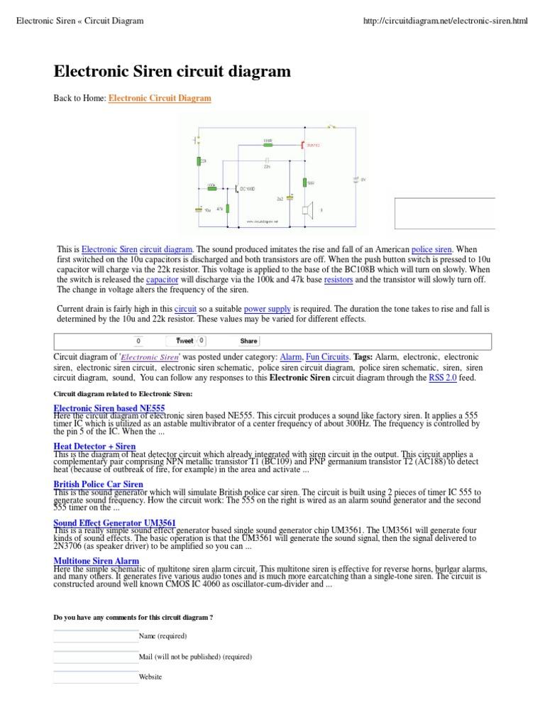 Electronic Siren Circuit Diagram Circuits Electronics Ic 4060 Datasheet