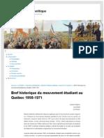 Bref historique du mouvement étudiant au Québec 1958-1971 - Lysiane Gagnon