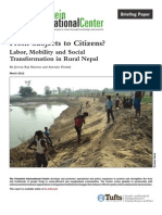 From Subjects to Citizens? Labor, Mobility and Social Transformation in Rural Nepal