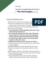 Rules for Treasure Hunt