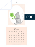 Creature Comforts March Calendar