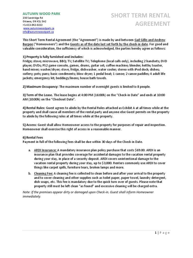 Short Term Rental Agreement Fee Lease
