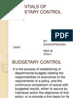 Essentials of Budgetary Control