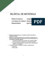 BILANTUL DE MATERIALE