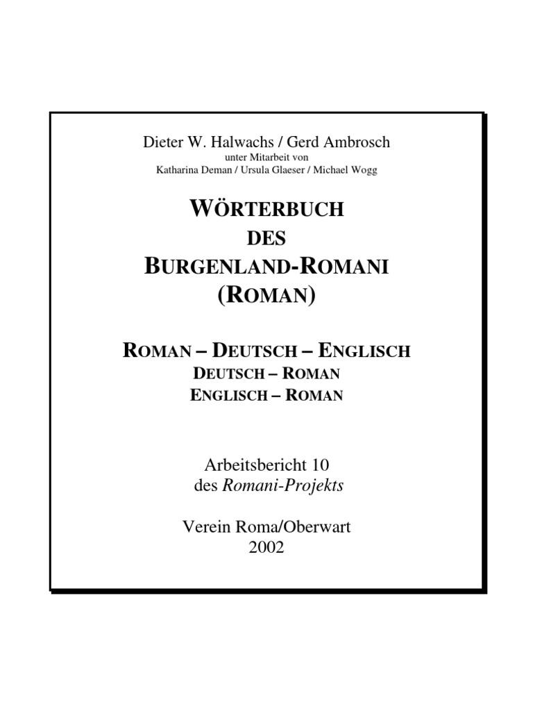 Wörterbuch des Burgenland-Romani Roman - Deutsch - Englisch | Business