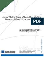 European Critical Materials 2010 Annex V