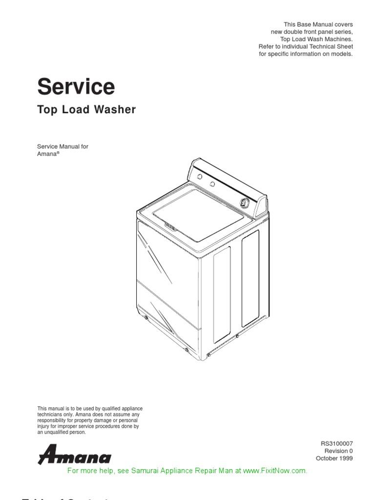 Amana Top Load Washer Service Manual
