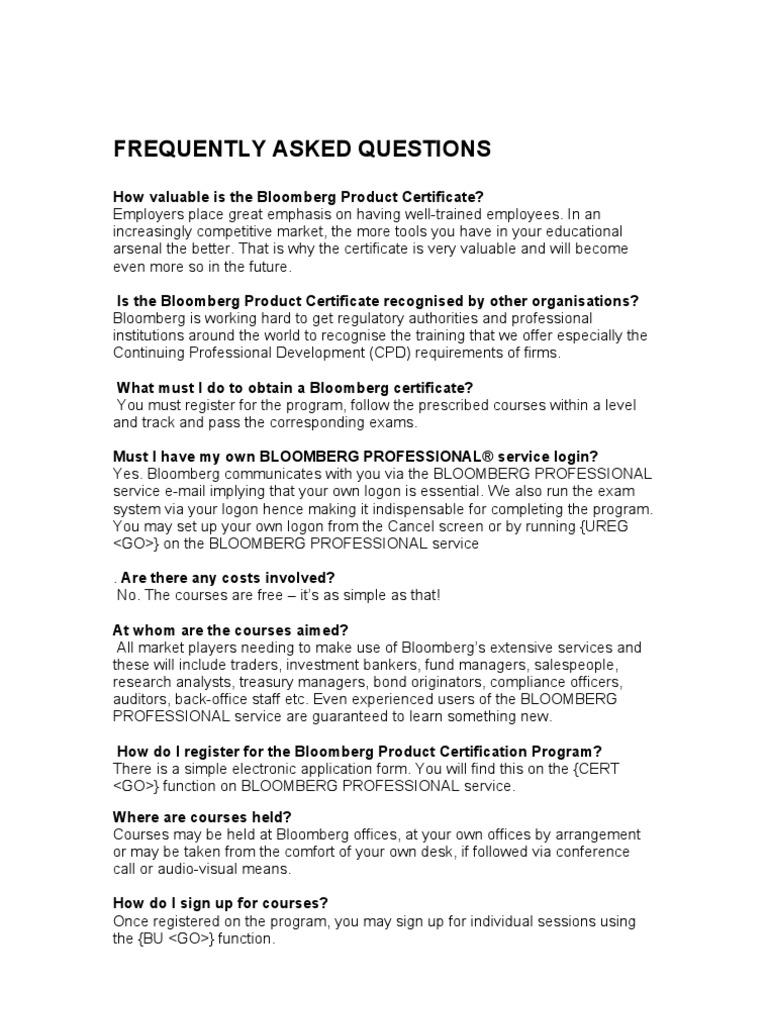Bloom Berg Faq Bloomberg Lp Professional Certification