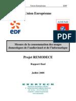 Consommation domestique audiovisuelle & informatique _projet Remodece _rapport  ADEME2008