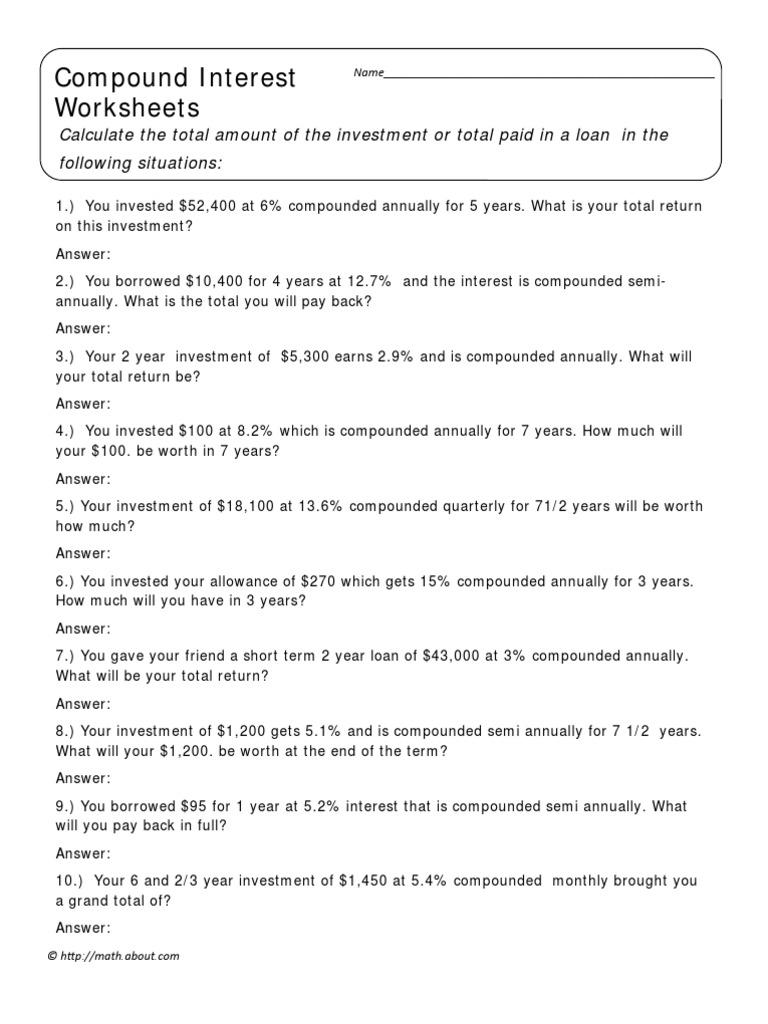 Uncategorized Compound Interest Problems Worksheet compound interest worksheet 1 household behavior and family economics