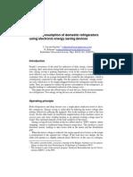 Energy Consumption of Domestic Refrigerators