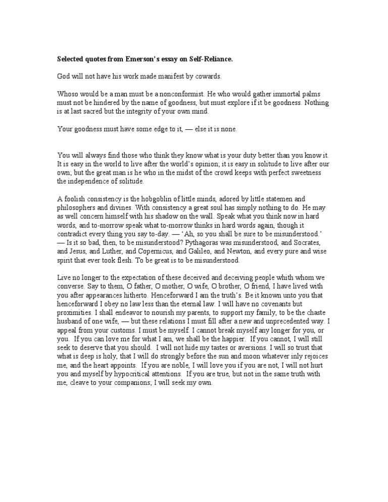 essay on self independence
