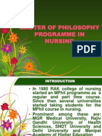 Master of Philosophy Programme in Nursing