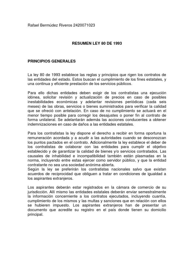 Resumen ley 80 de 1993