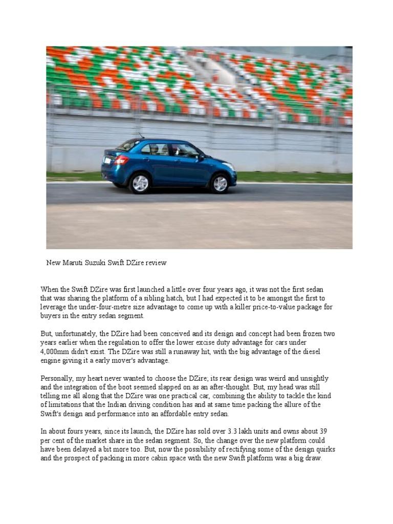 New Maruti Suzuki Swift DZire Review   Automatic