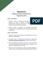 Regulamento Maratona Nacional Chemtech de Engenharia 2012