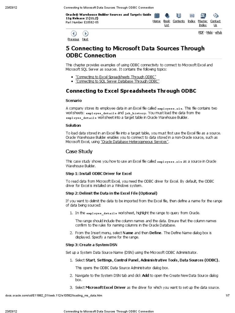 Connecting to Microsoft Data Sources Through ODBC Connection